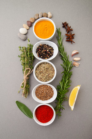 Various spices on a gray background.  Stock Photo