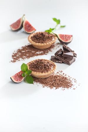 Тарталетки с кремом из темного шоколада. Stock Photo