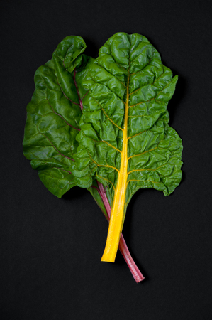 Two leaves of Mangold (salad chard) close-up on a black background.