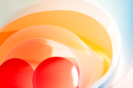Creative photography - multi-layered rounded color plates. 写真素材