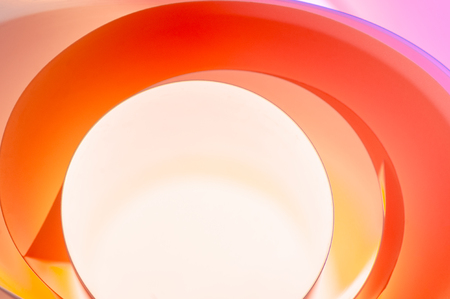Abstract background of multicolored semicircular elements with gradient in cartoon style.