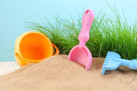 Children's toys for the sandbox. Studio photography.