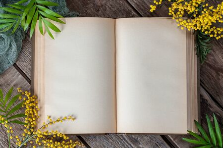 Opened book with blank pages on old wooden table. Background image in spring style.