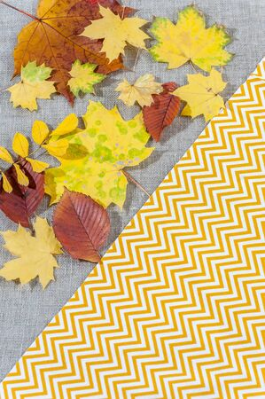 Fabric background with autumn leaves and various textures.