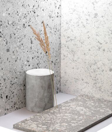 Creative composition using various stone textures and dry plants.