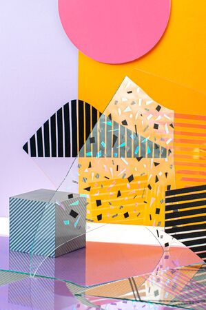 Creative installation of multi-colored glasses and shapes.