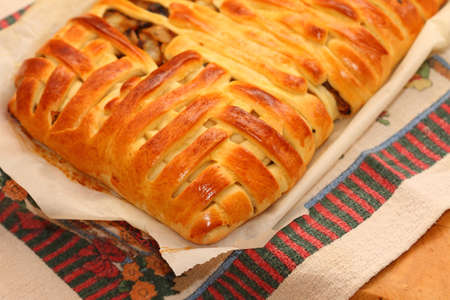 with fillings: baked yeast cakes with various fillings