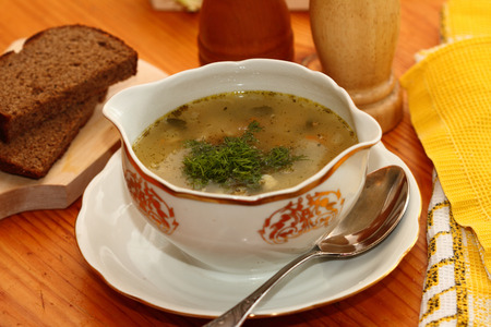 the greens: fish millet, red fish and greens soup