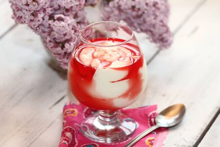 grenadine: cottage cheese dessert with syrup a grenadine