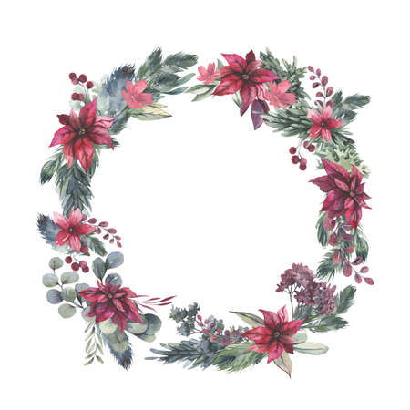 Watercolor hand painted wreath with red flowers and green leaves.Watercolor floral illustration with branches - for wedding invite, stationary, greetings, wallpapers, background. High quality illustration
