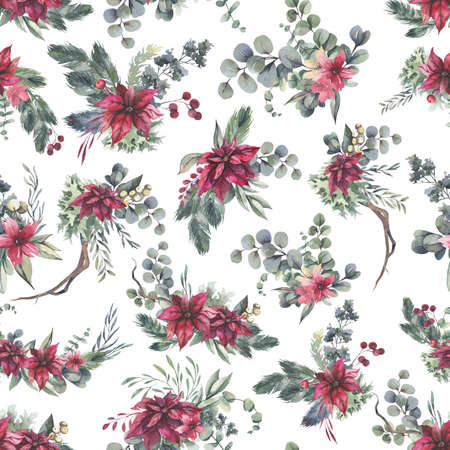 Watercolor floral pattern with different leaves and flowers. Floral seamless pattern on black background. High quality illustration Foto de archivo