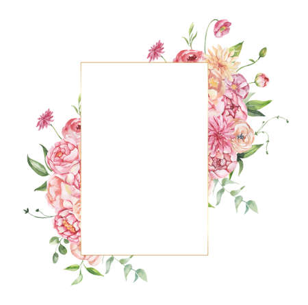 Watercolor floral illustration - leaves and branches frame with flowers and leaves for wedding stationary, greetings, wallpapers, background. Roses, green leaves. High quality illustration