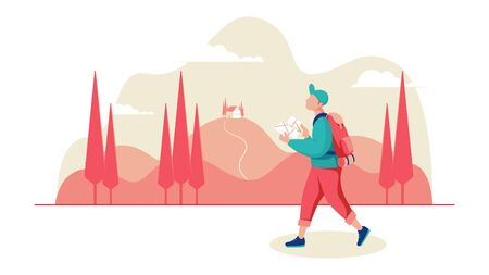 Young male traveler with a map and backpack in the background a hilly landscape with cypresses