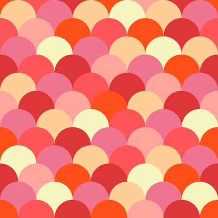 Seamless colorful fish scale vector pattern in red, pink, yellow colors. Ilustrace