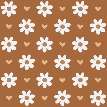 Seamless pattern with flowers and hearts in romantic vintage style.