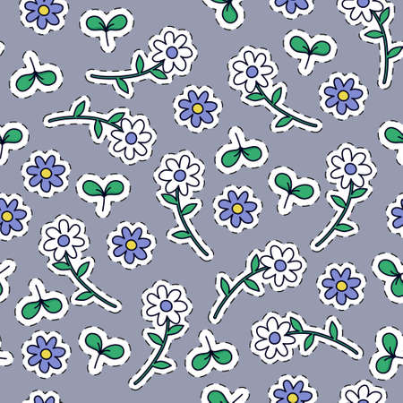 A seamless floral pattern in a cartoonish colorful style. Ilustrace