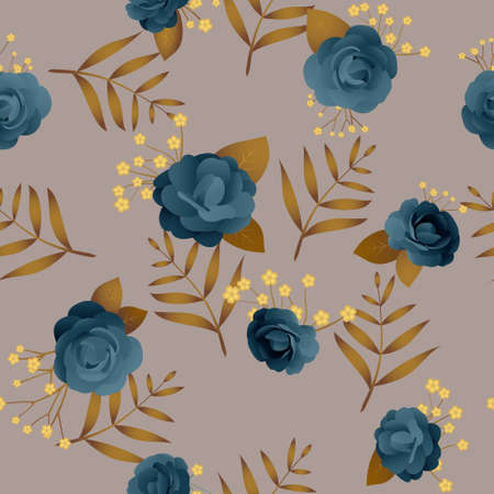 Vintage seamless pattern with roses and leaves