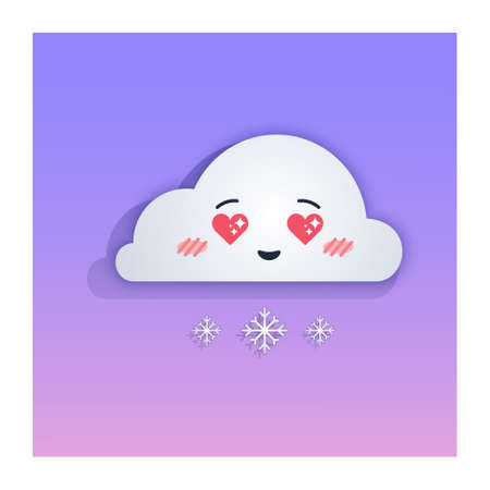 Kawaii cute snowy cloud with love eyes in the shape of hearts