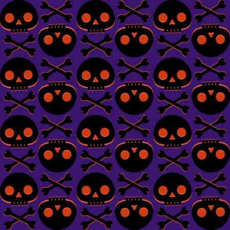 Seamless pattern with human skull and bones Stock Illustratie
