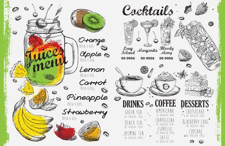 Juices menu, template design. Food flyer.