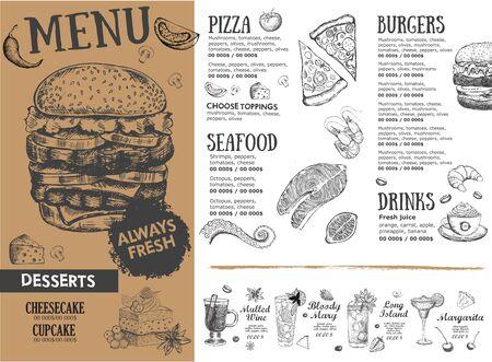 Coffee menu. Restaurant cafe menu, template design. Food flyer.