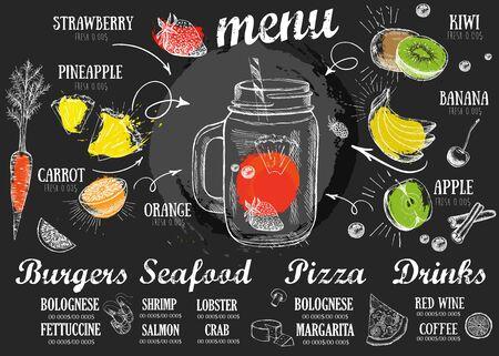 Juice menu, hand drawn illustration. Smoothie