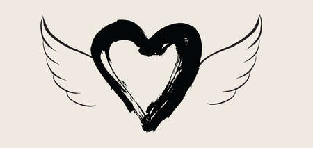 Heart with angel wings hand drawn vector illustration 向量圖像