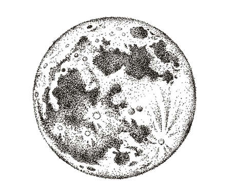 Moon phases isolated. Hand drawn illustration.