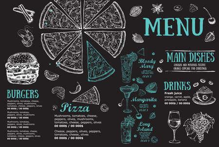 Restaurant brochure, menu design. Food flyer. Vector. Vector Illustratie