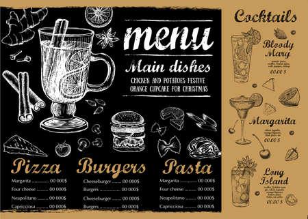 Restaurant cafe menu, template design. Food flyer. Vetores