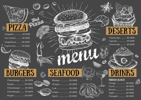 Restaurant cafe menu, template design. Food flyer. Vektorgrafik
