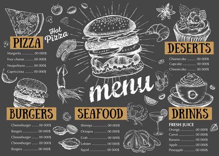 Restaurant cafe menu, template design. Food flyer. Ilustração Vetorial
