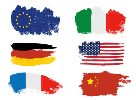 Collection of popular world flags, brush strokes painted flags Stock Illustratie
