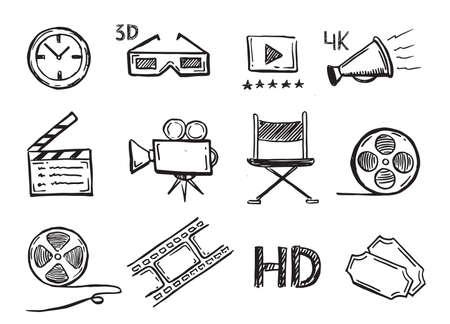 Cinema decorative symbols set, vector hand drawn. Vecteurs