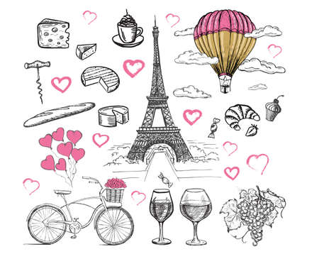 French icons, set of hand drawn style, Paris sketch illustration, vector.
