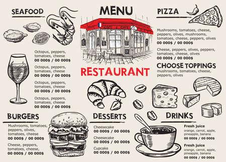 Restaurant menu design. Food flyer. Hand-drawn style. Vector illustration.