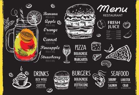 Restaurant menu design. Food flyer. Hand-drawn style. Vector illustration. Vektorgrafik