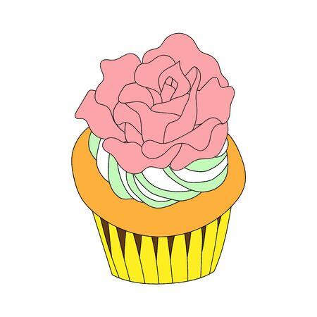 Delicious cupcake with big cream rose. Çizim