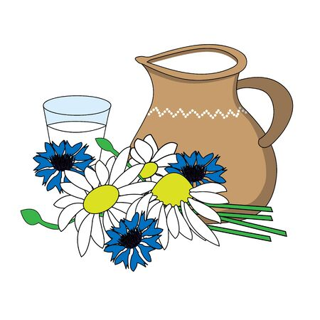 Jug made out of clay next to a glass of milk and with white and blue flowers in the foreground.