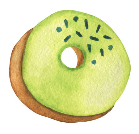 A rosy puffy donut with sweet light green sugar icing and blue sprinkles. Watercolor food illustration isolated on white. Design for fabric, wallpaper, menu, packaging, print, wrapping, baby room.