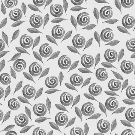 Seamless black-white-gray pattern with autumn flowers and leaves. Boho watercolor roses, peonies in trendy earthy colors, tones. Botanical illustration for the fabric, covers, packaging.