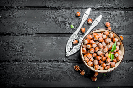 Hazelnuts in a bowl with a Nutcracker. On black rustic background. Banque d'images
