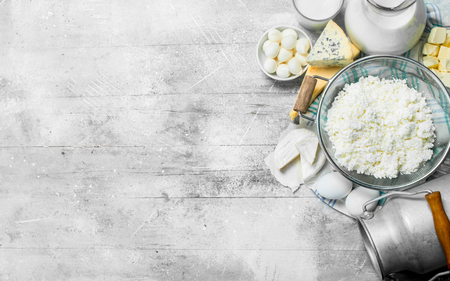 Various dairy products. On a rustic background. Reklamní fotografie
