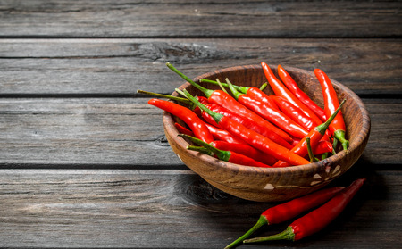 Red hot pepper in bowl. On wooden background