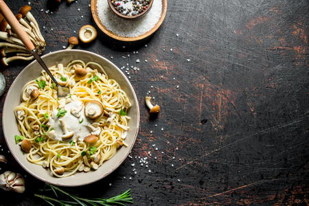 Pasta with mushrooms, sauce, herbs and spices in bowl. On dark rustic background 版權商用圖片