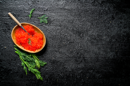 Red caviar in a bowl with a spoon and dill. On black rustic background Reklamní fotografie