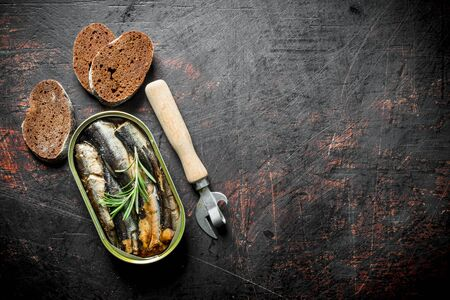 Sprats in a tin can with slices of black bread and a opener. On dark rustic background Stok Fotoğraf