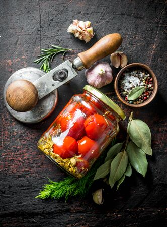 Preserved tomatoes with Bay leaf and garlic cloves. On dark rustic background