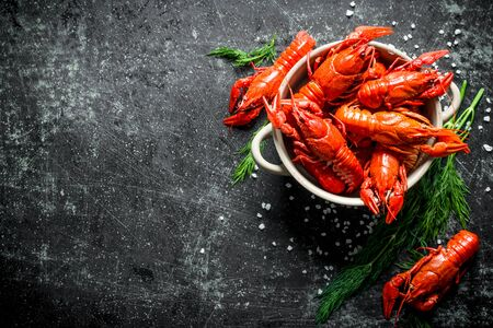 Deliciously cooked red crayfish in a bowl with dill. On dark rustic background Stok Fotoğraf - 124763436