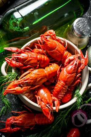 Hot spicy boiled crayfish with a bottle of beer and spices. On dark rustic background
